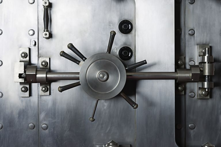 Handle of door to bank vault safe
