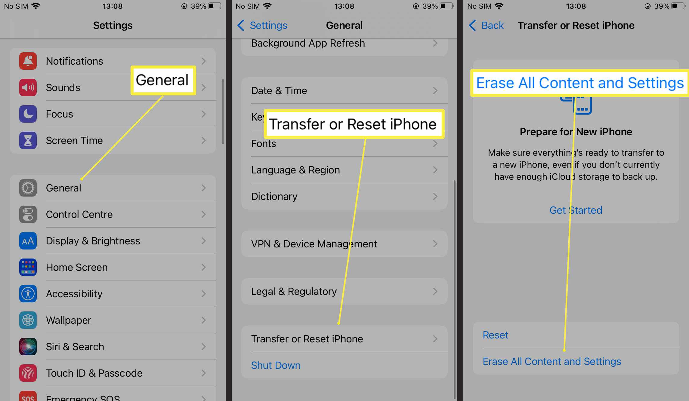 Steps required to erase all content and settings on iPhone