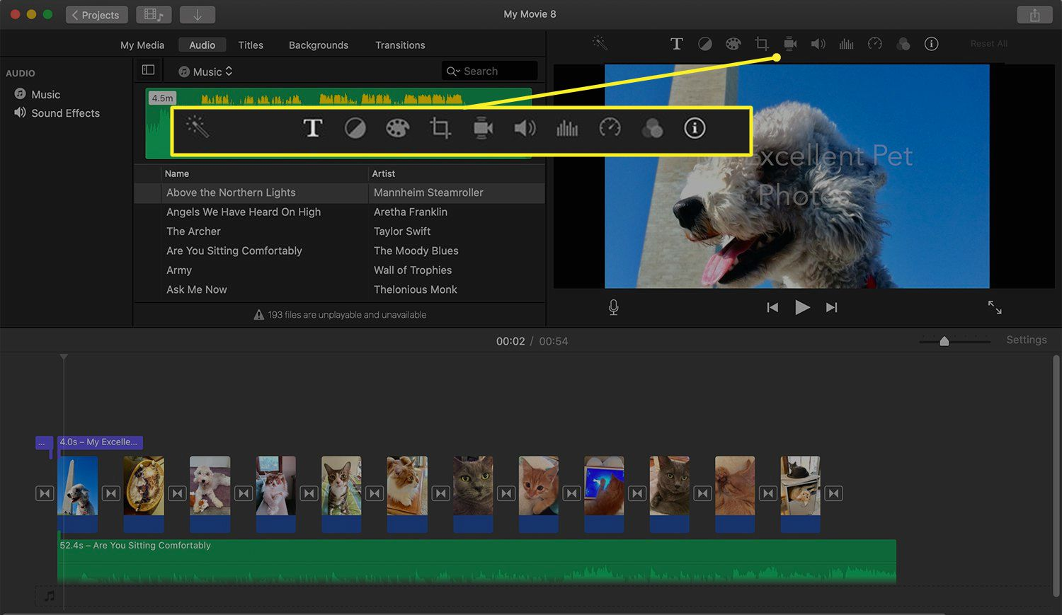 iMovie interface showing Advanced Tools location