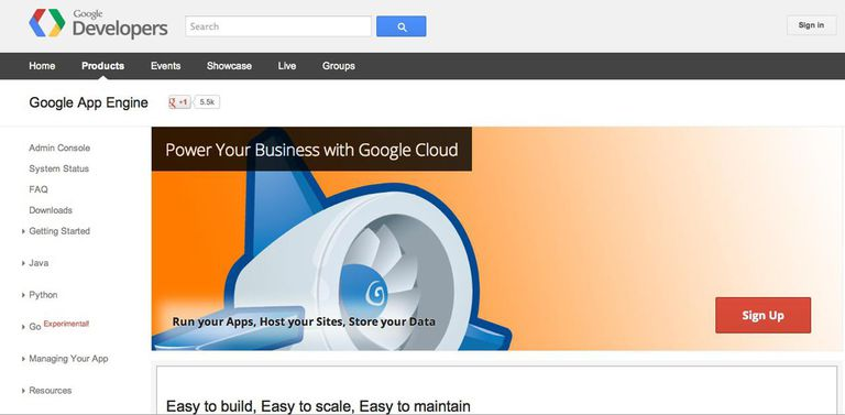 The Google App Engine signup page