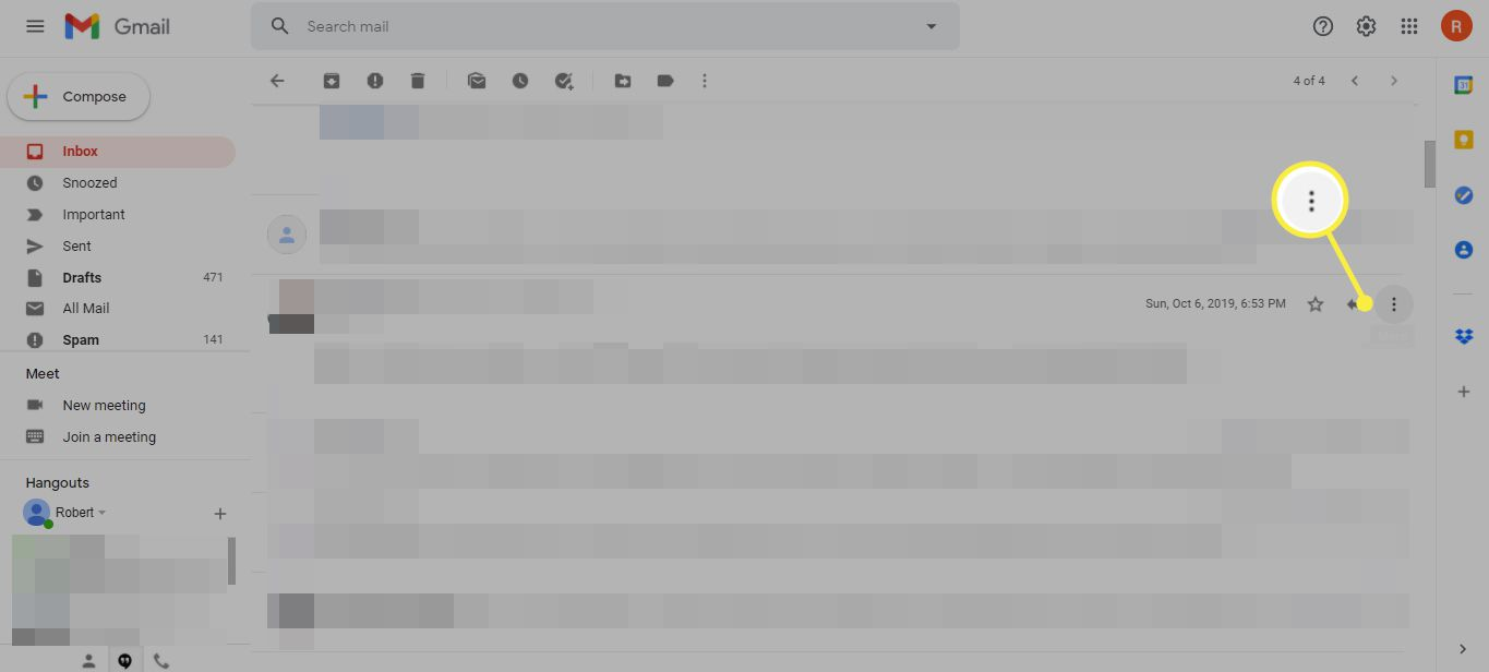 More button (three horizontal dots) in Gmail