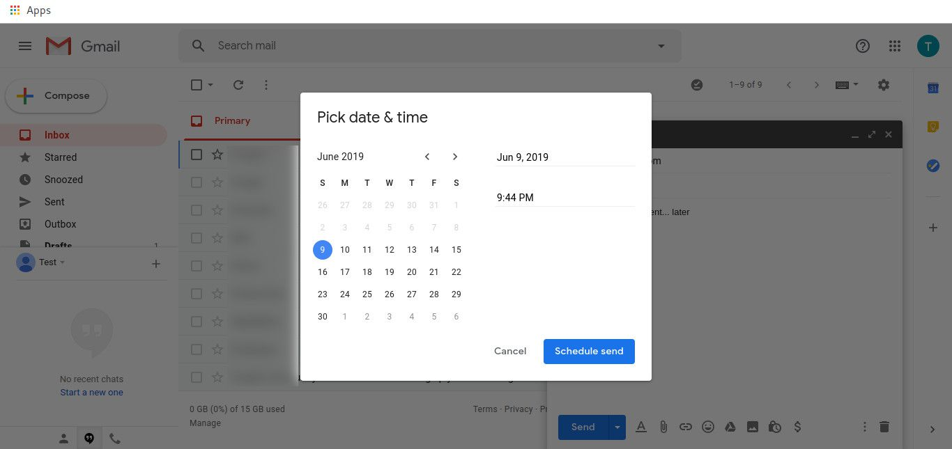 Schedule a message in Gmail