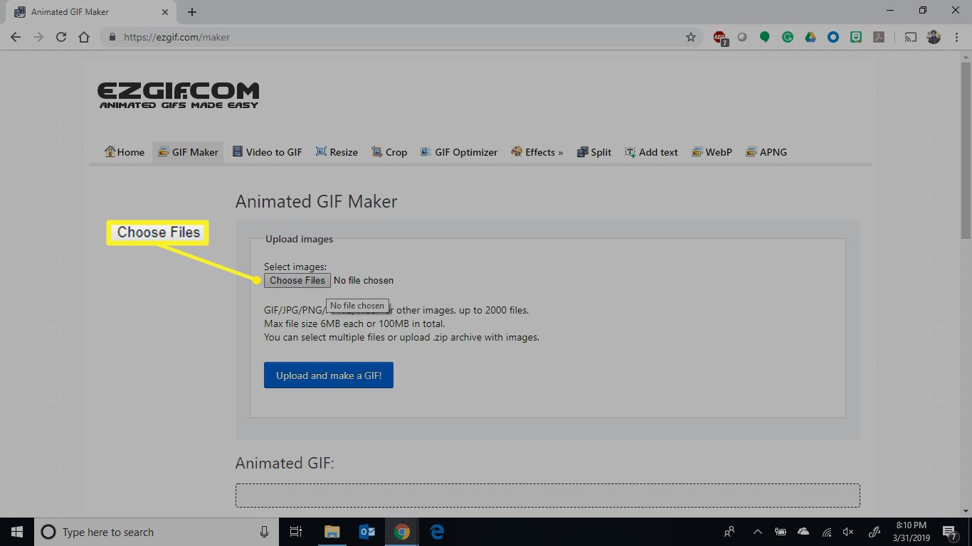 The Choose Files button on the Animated GIF Maker screen