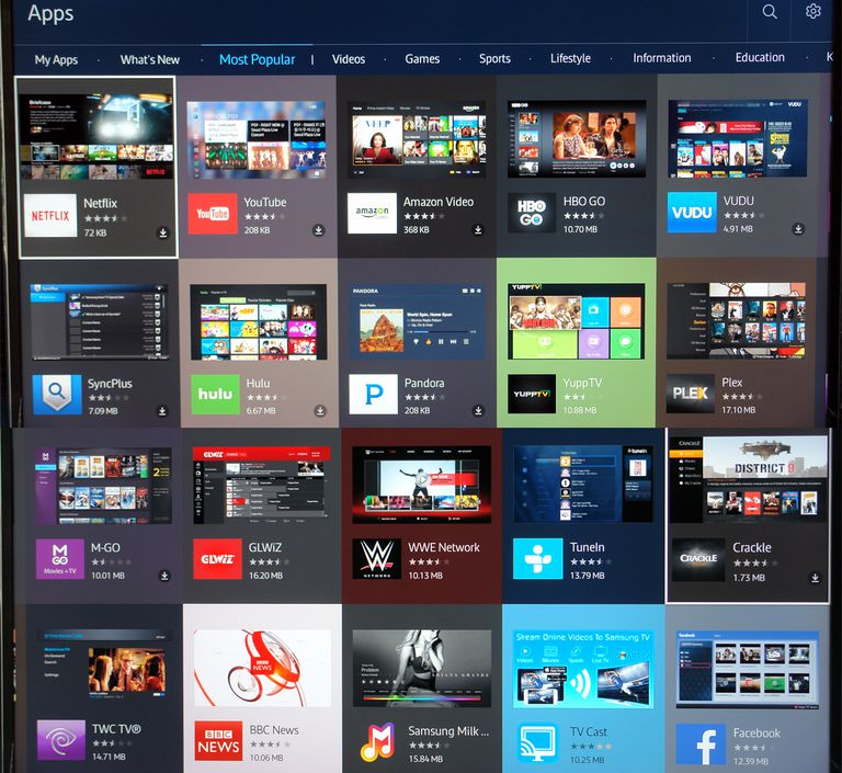 Samsung UN55JS8500 SUHD TV - Apps and Apps Store Menu