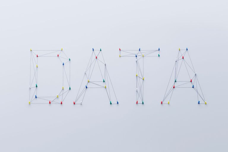 The word DATA spelled out using pins and string