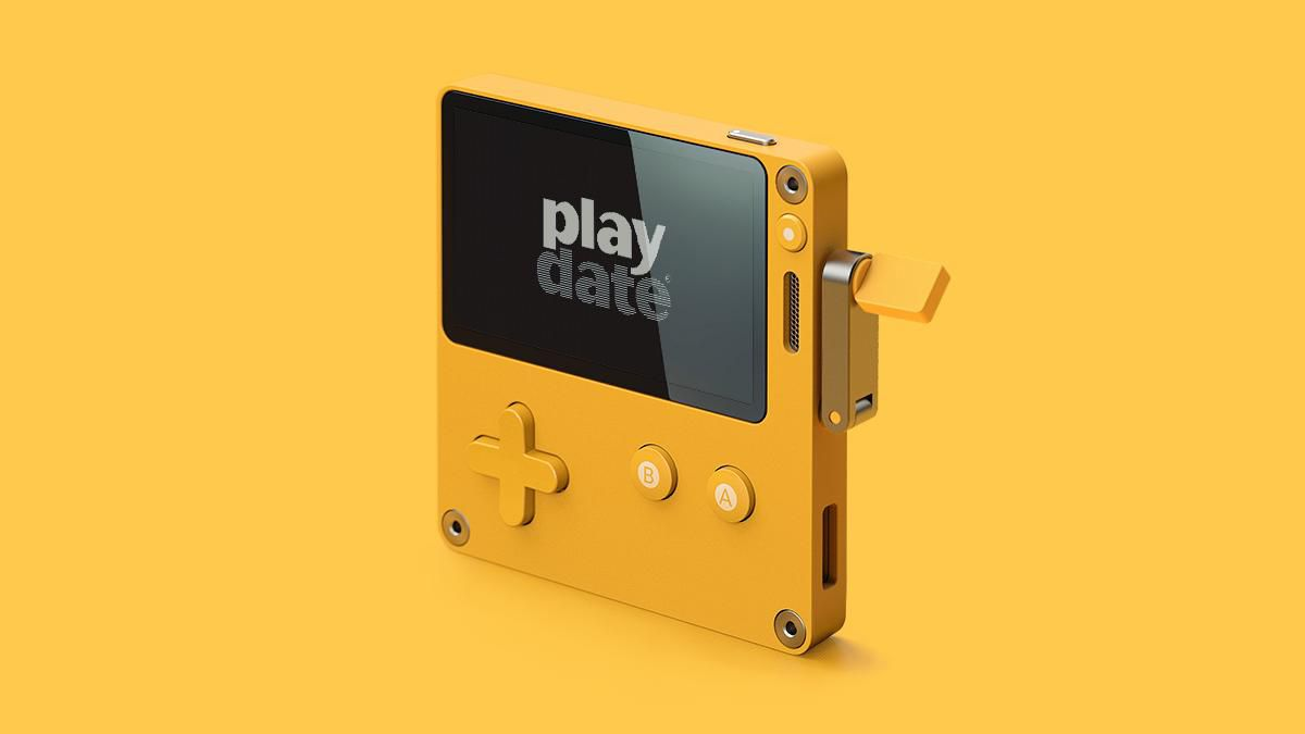 A render of the Playdate handheld console