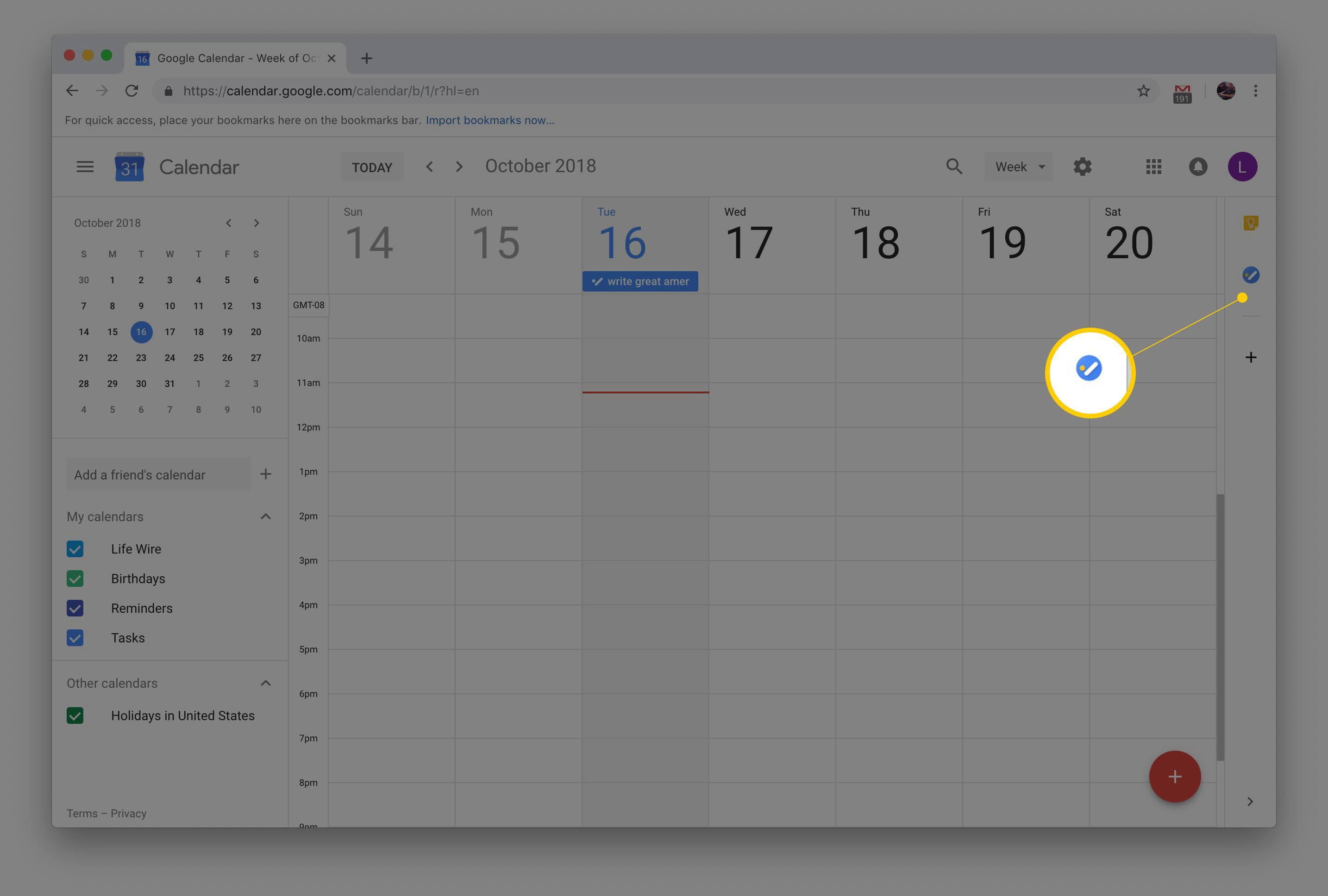 Tasks button in Google Calendar on macOS version of Chrome
