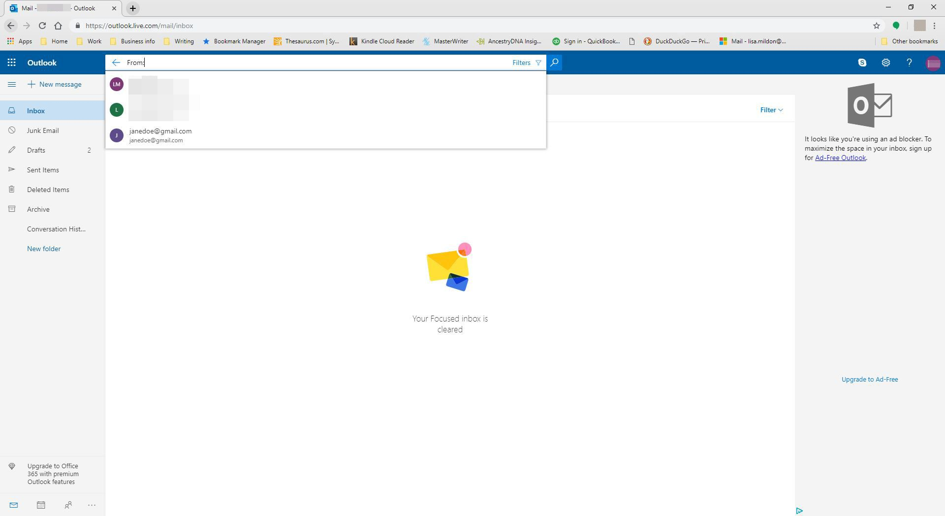 Searching for a specific email in Outlook.com