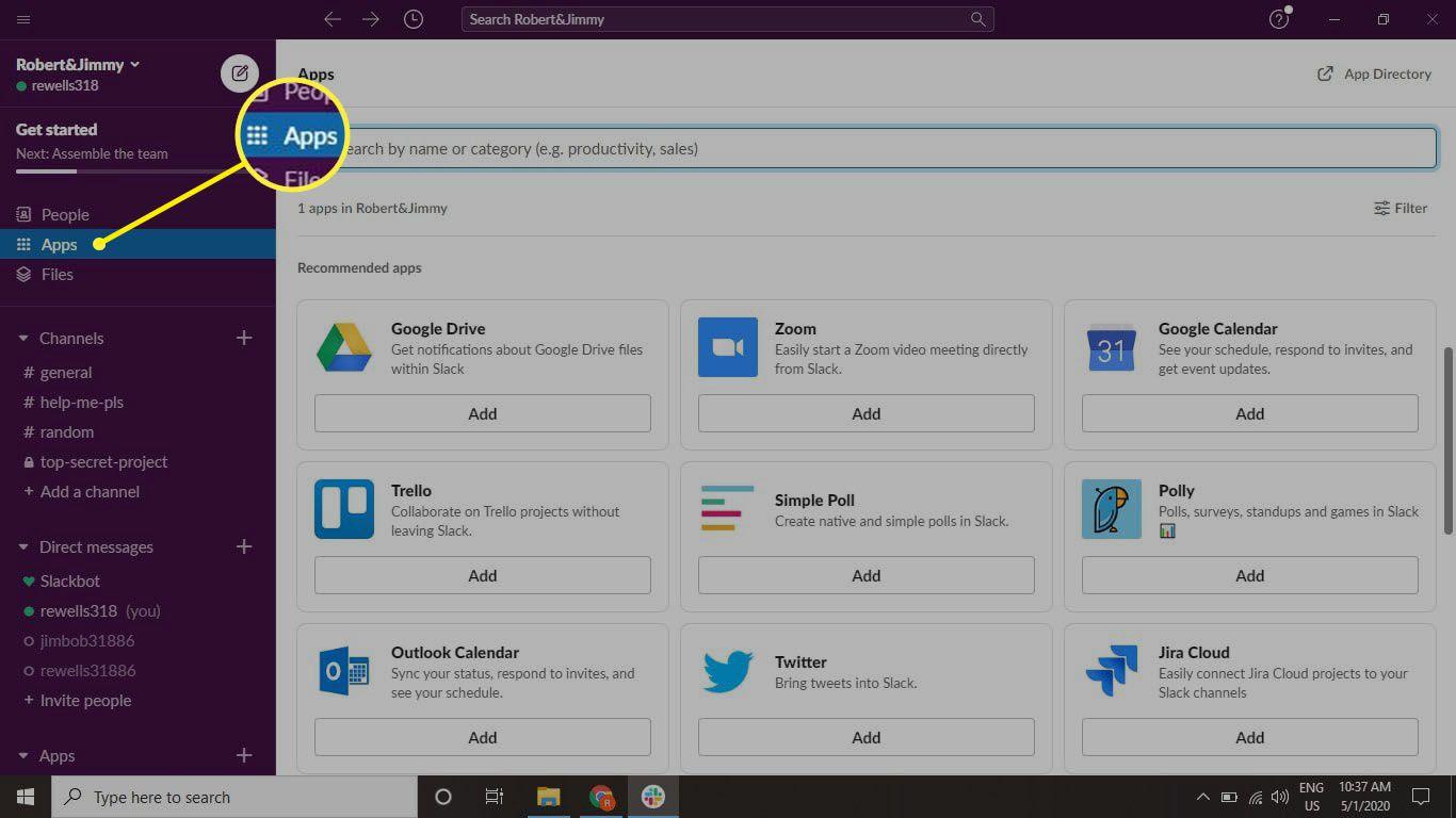 Select Apps in the top-left corner of Slack.