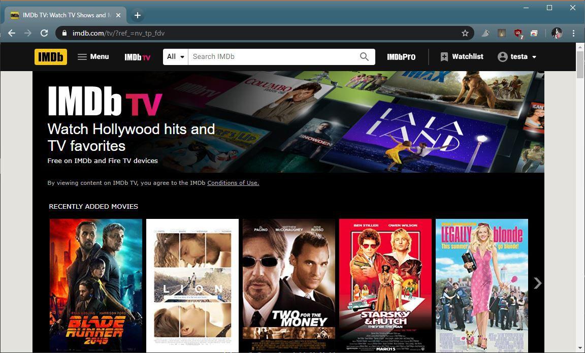 A screenshot of IMDB TV.