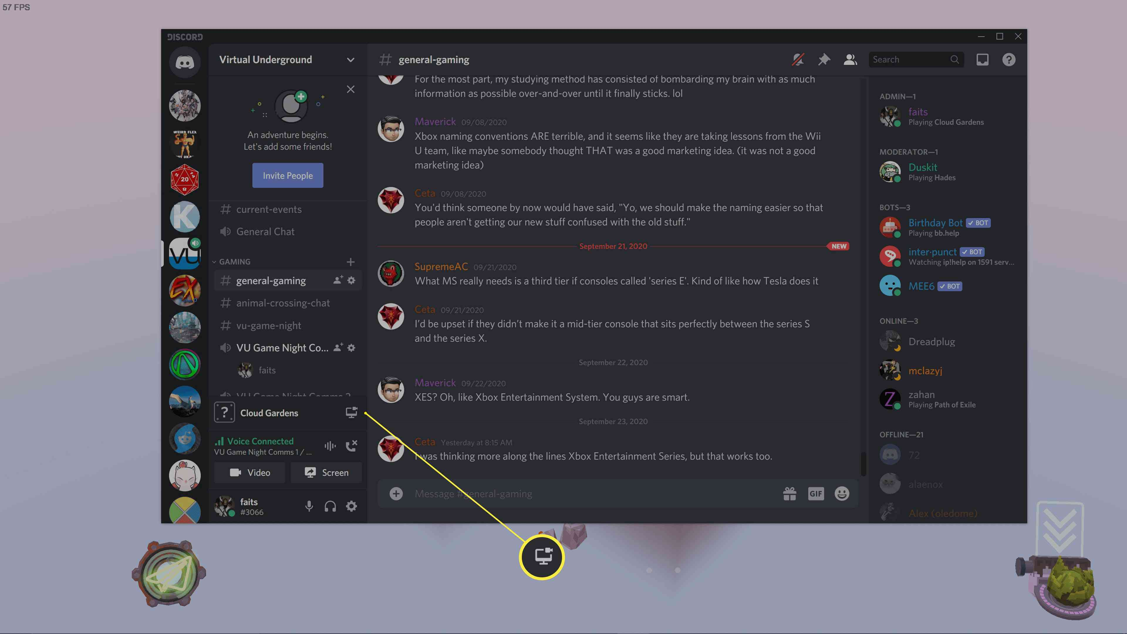 Discord while playing a game and in a voice channel.