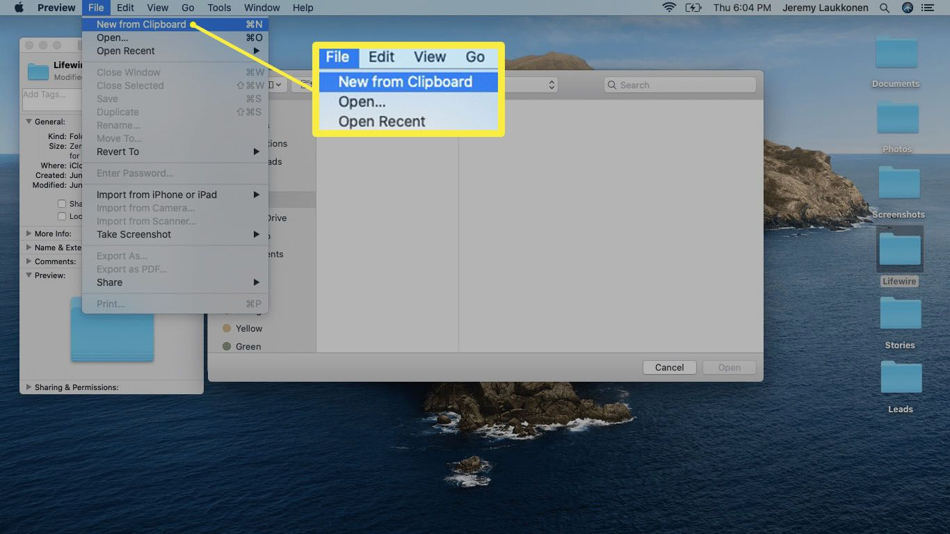New from Clipboard menu item selected in the Preview app on macOS.