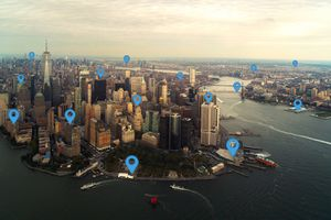 Map pin flat in New York city scape and network connection concept.