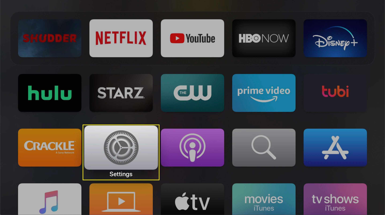 The Settings app on Apple TV