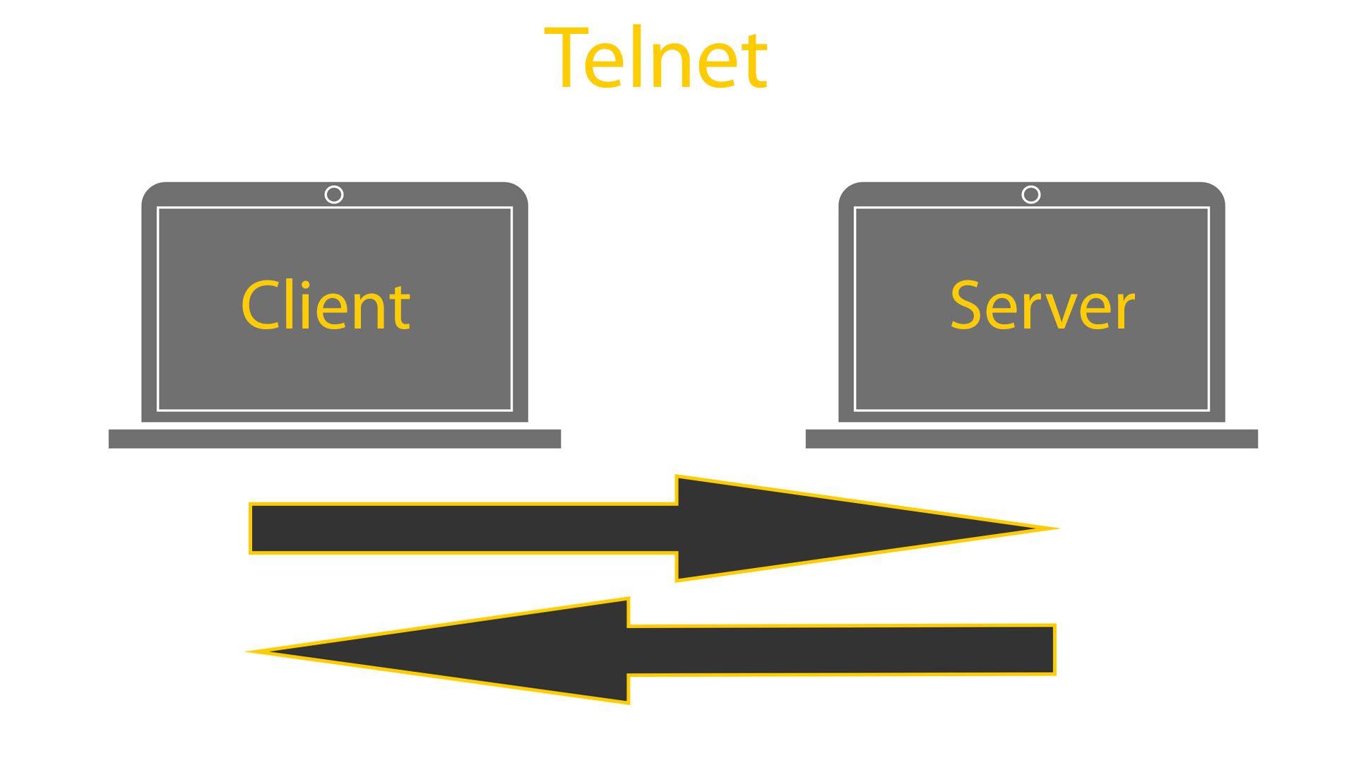 2 laptops showing Telnet example.