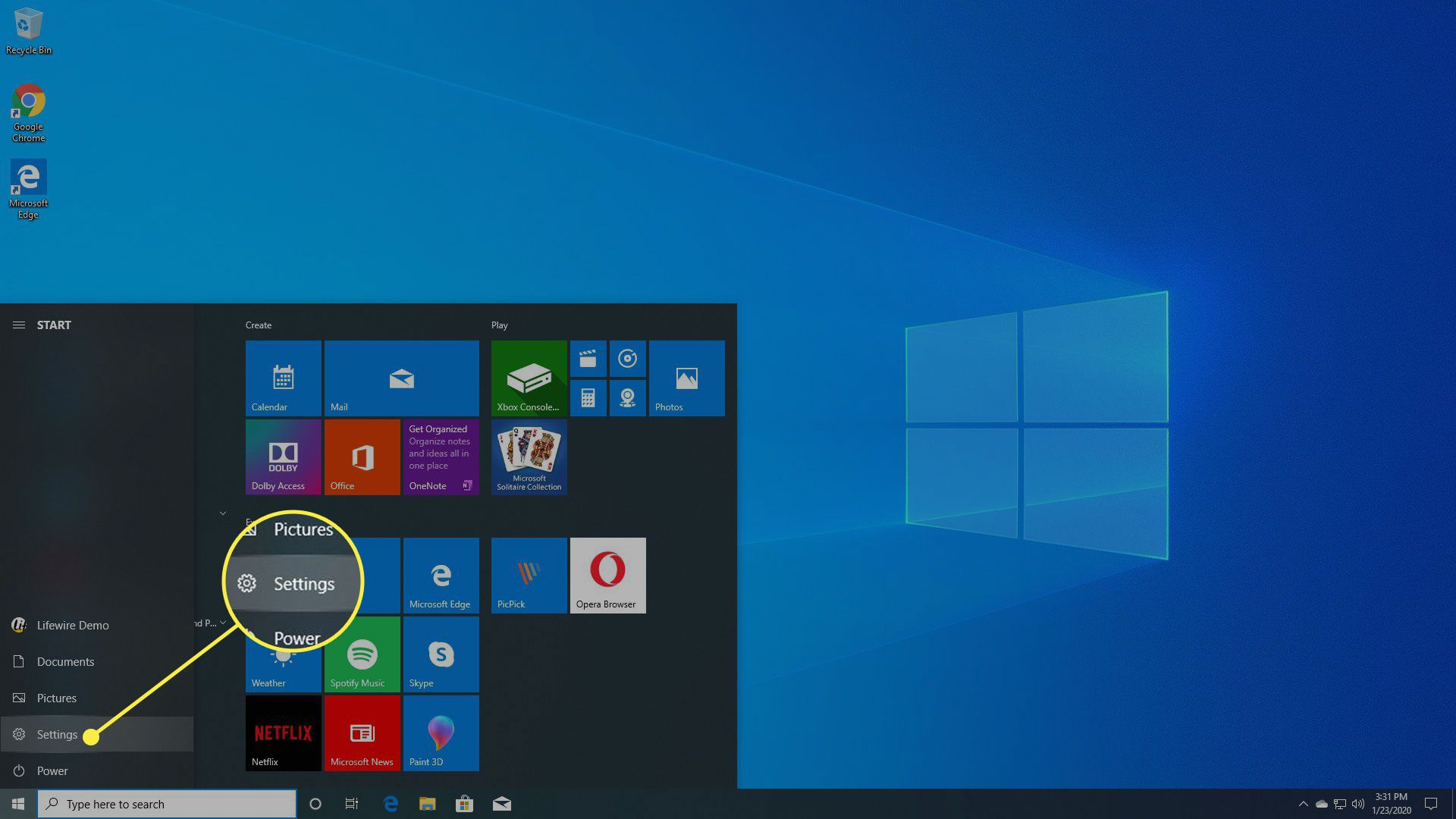The Windows 10 Start menu with Settings highlighted