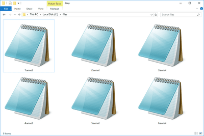 Screenshot of several ANNOT files in Windows 10 that open with Notepad
