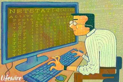 Person using Netstat command on computer