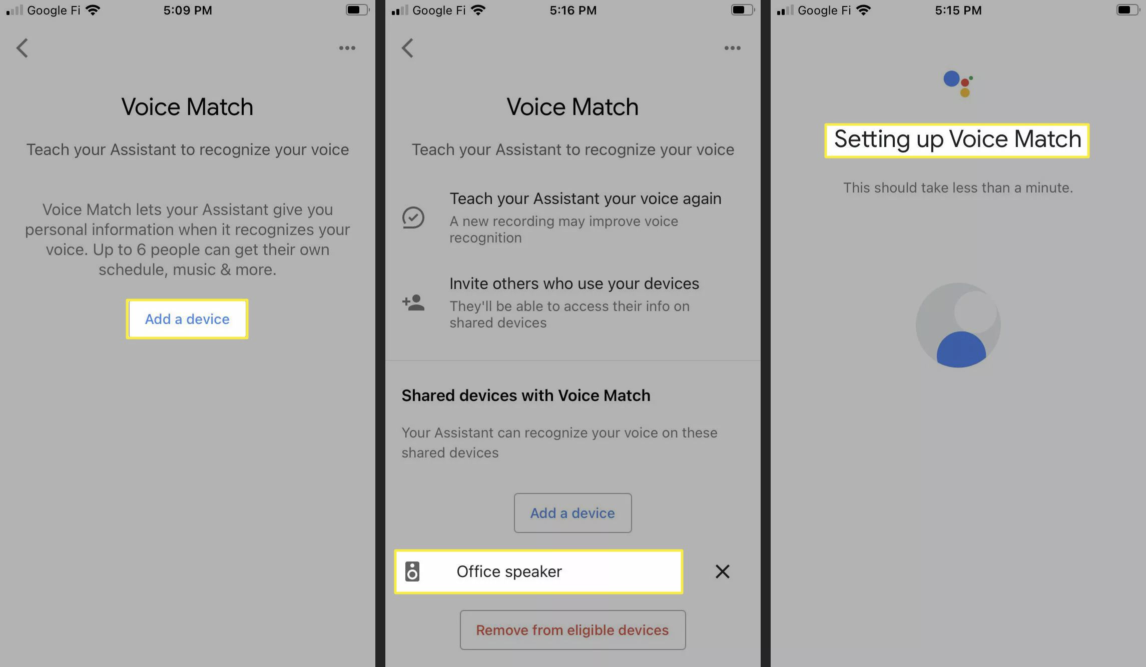 Setting up Voice Match in the Google Home app on the iPhone.