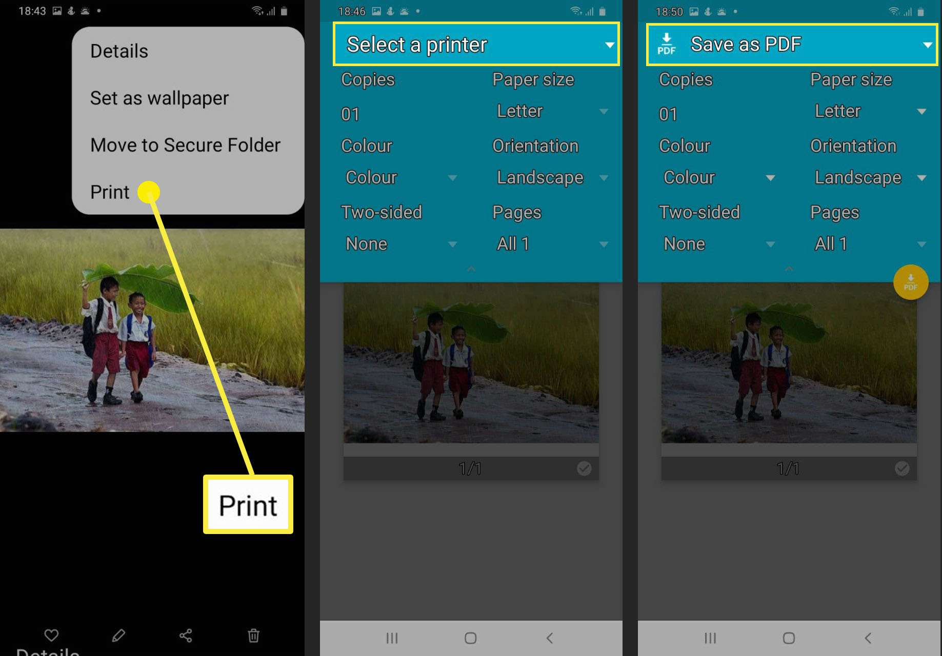 JPG to PDF printing in Android phone