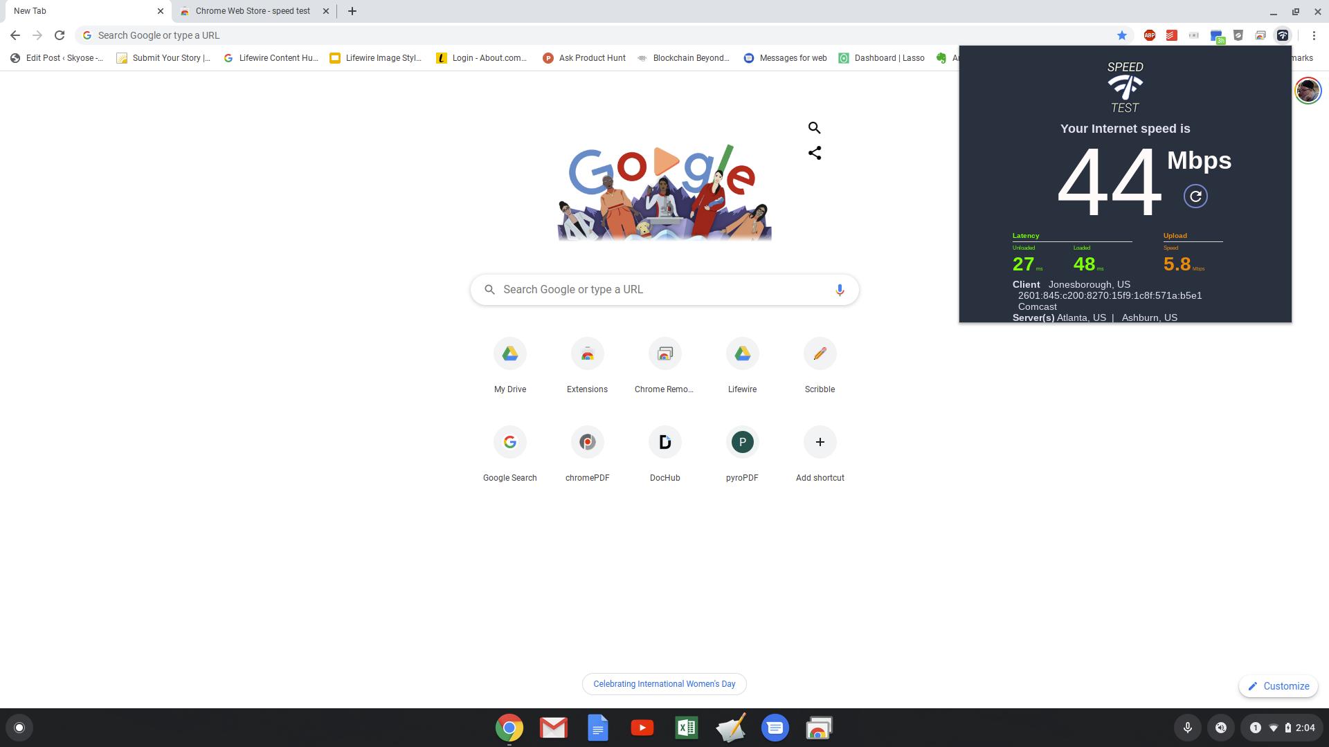 Screenshot of Chrome speed test extension