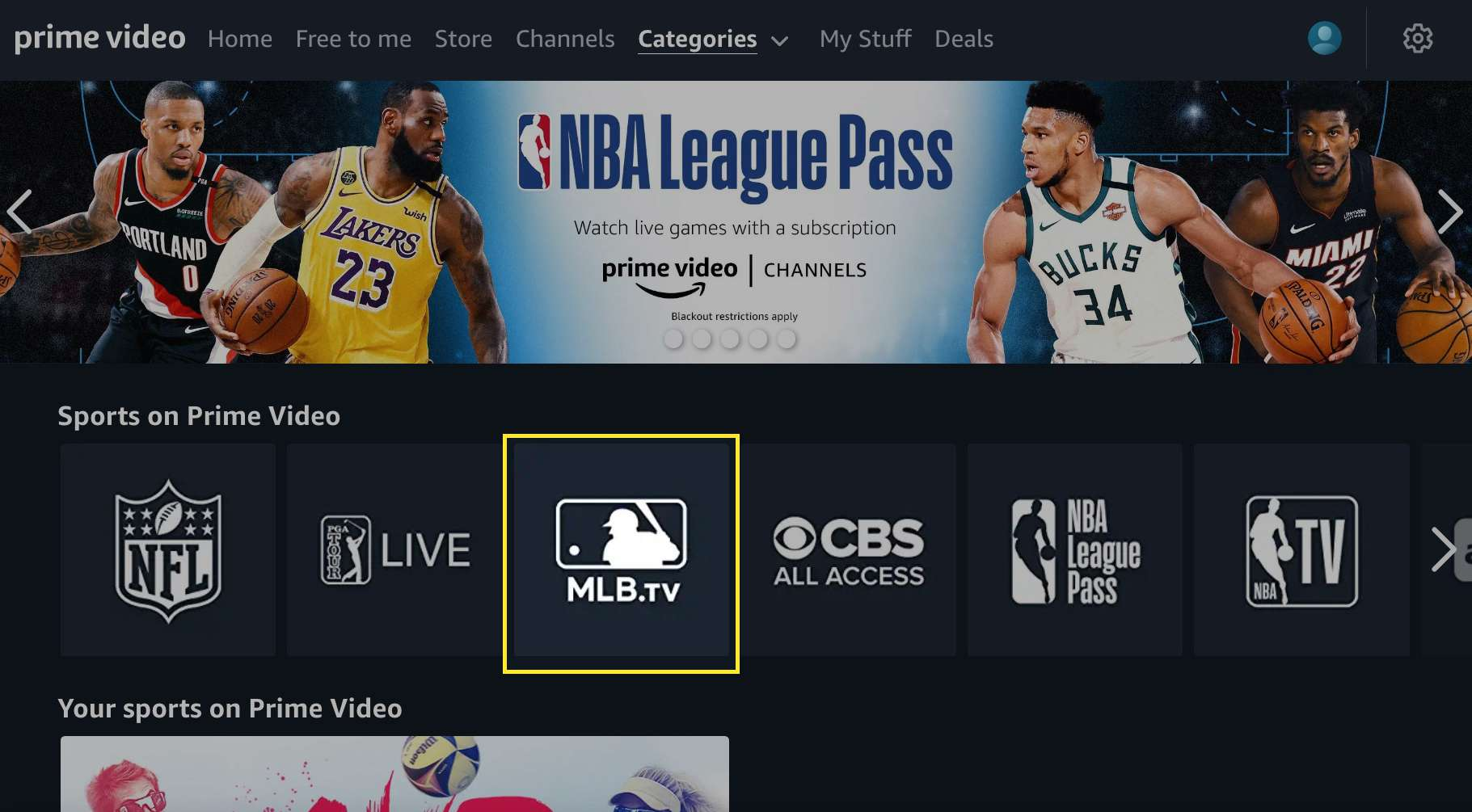 Amazon Prime Video sports channels with MLB.TV highlighted