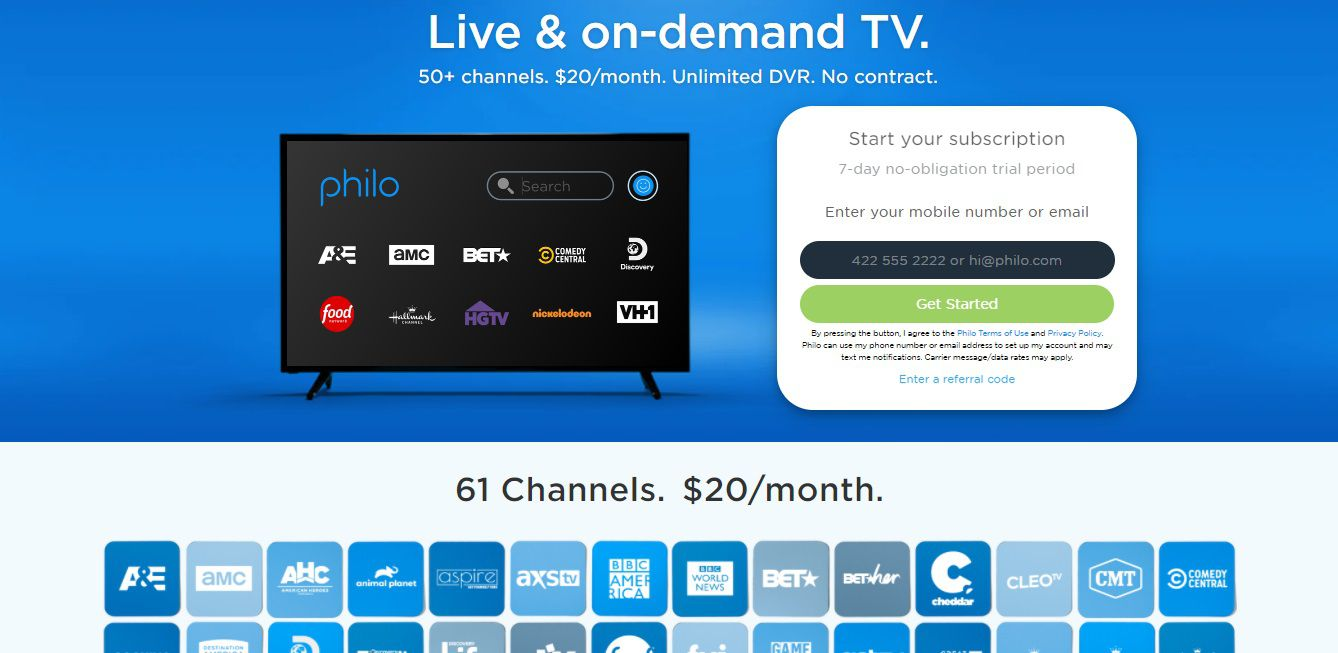 Philo TV sign up page