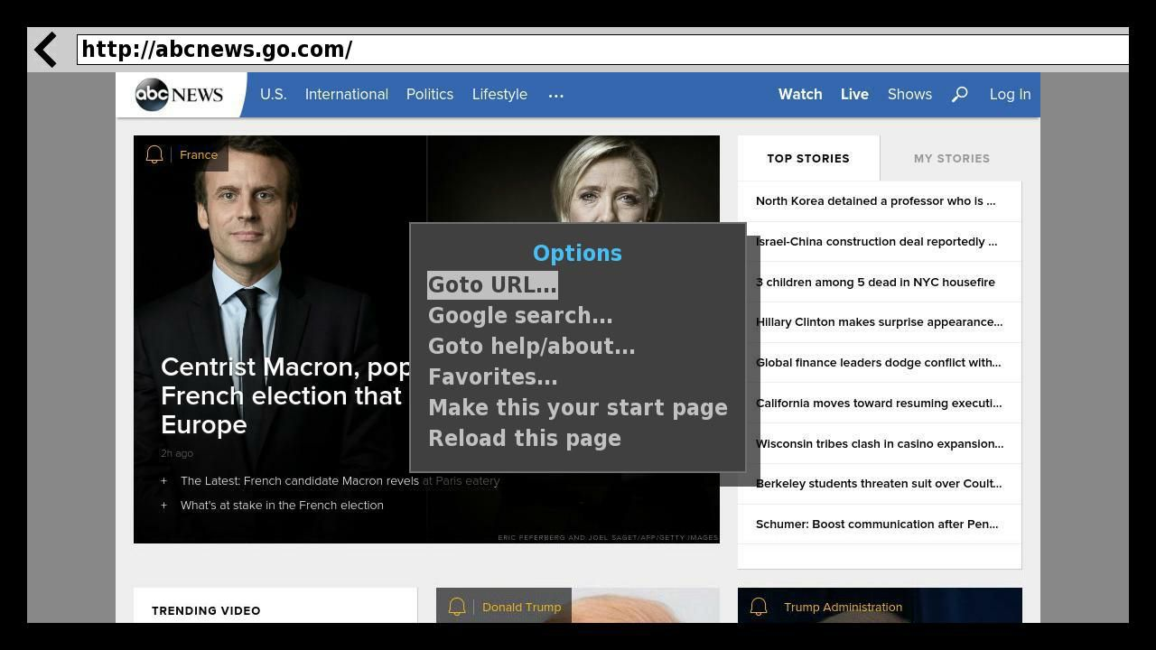 Web Browser X Search Page Example