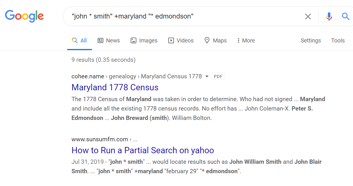 Partial search on Google