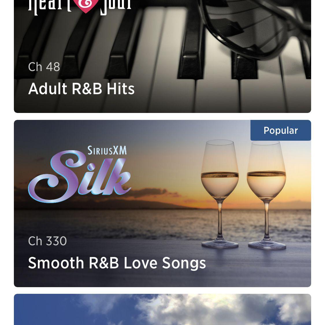 screenshot of Sirius XM app