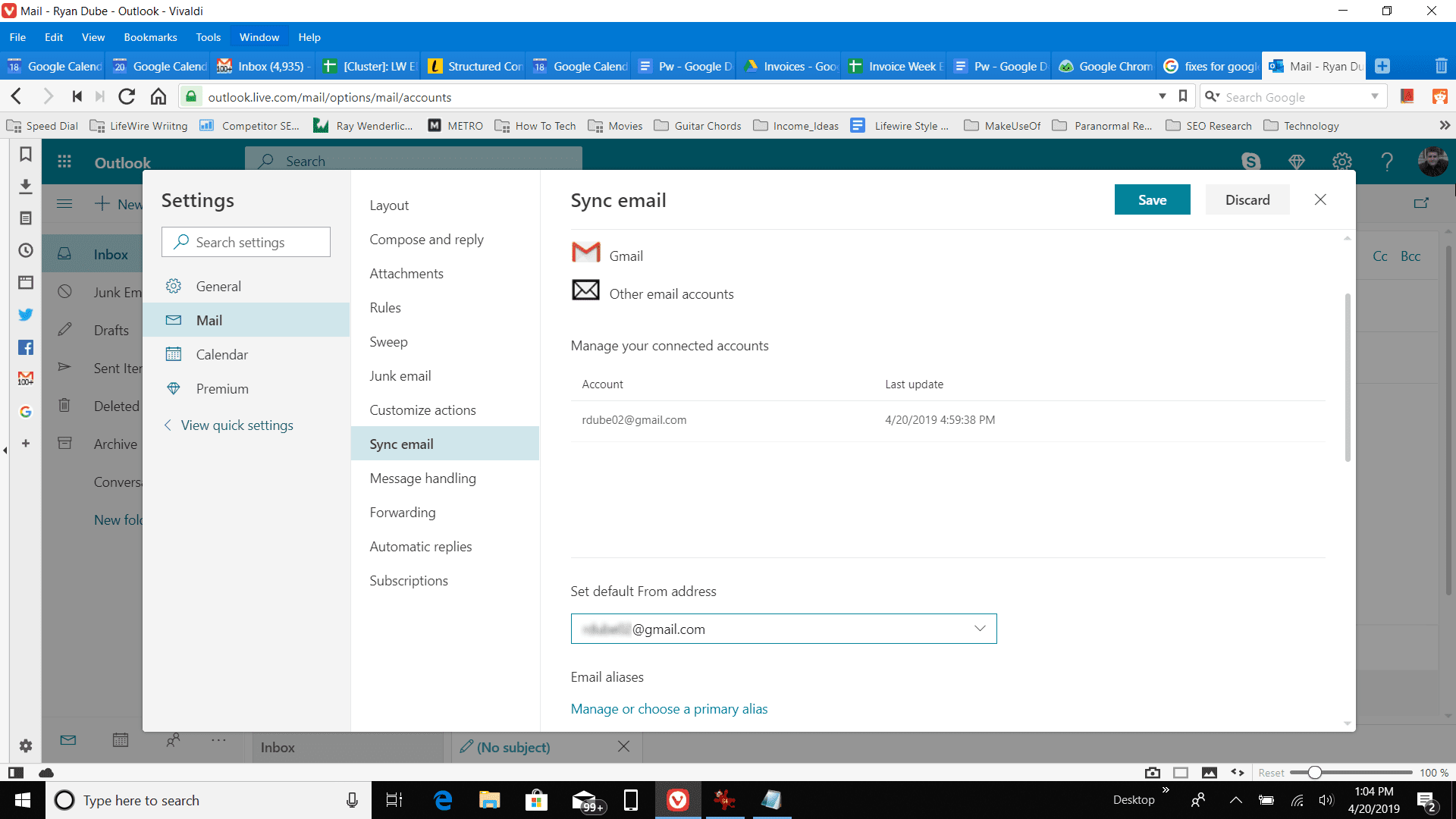 Sync email settings.
