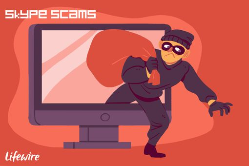 A conceptual illustration of a Skype scammer.