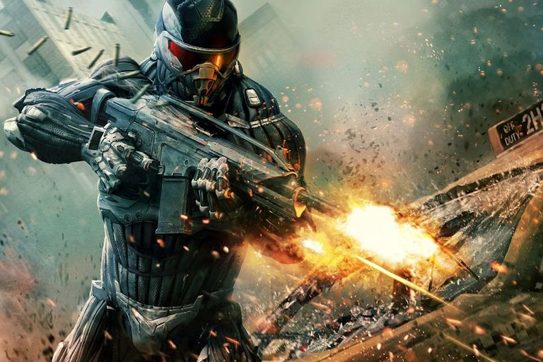 Crysis soldier shooting a gun