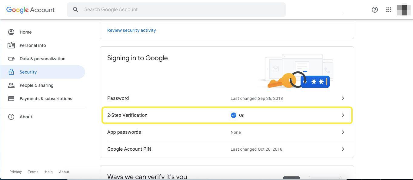 Google Account 2-step verification