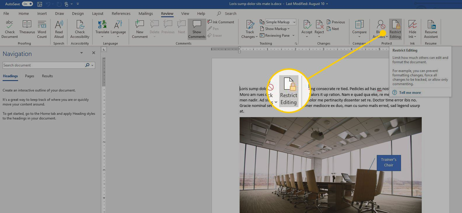 Restrict Editing button in Word