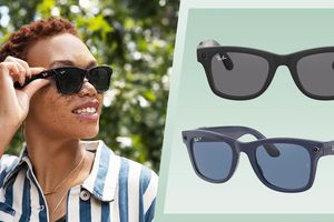 woman wearing Facebook's new Ray-Ban Smart Glasses and activating the camera