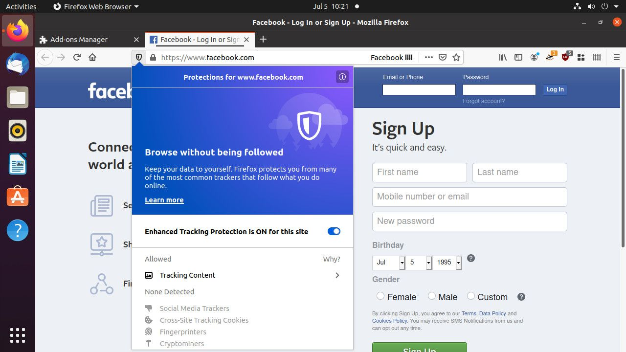 Firefox built-in tracking protection