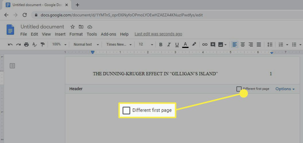 The different first page header option in Google Docs.