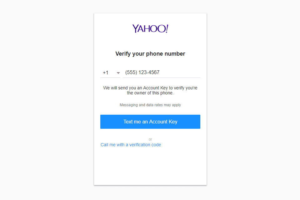 Screenshot of the Yahoo Mail signup screen phone verification step