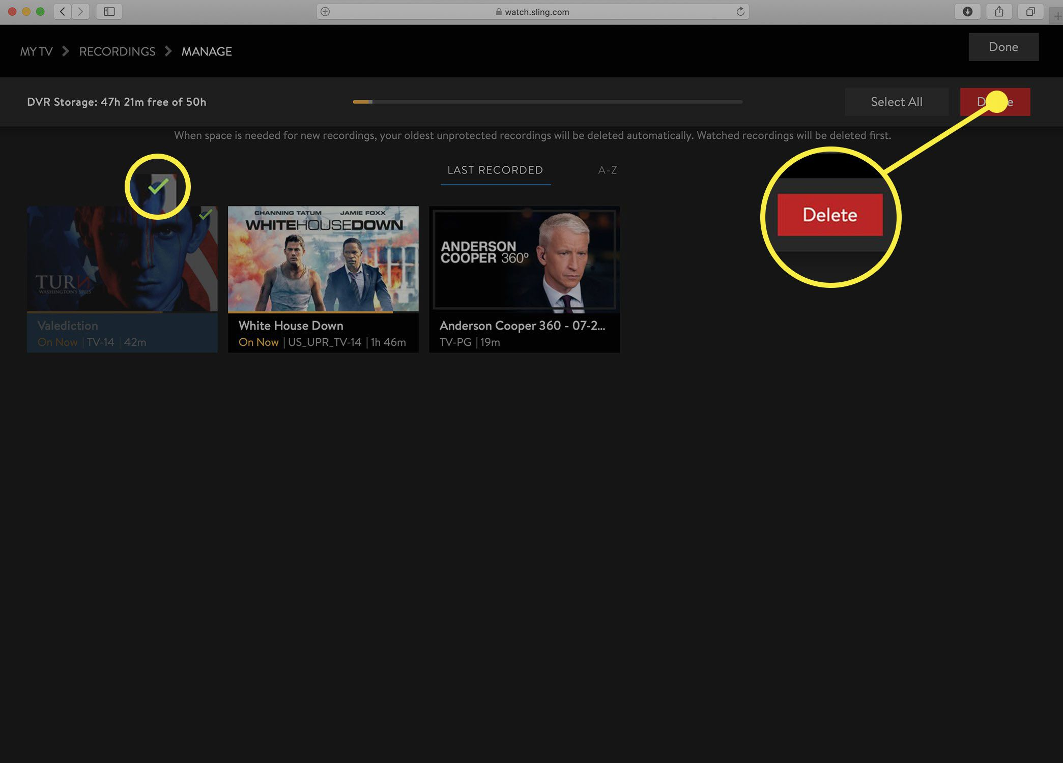 Screenshot of the Sling TV Manage DVR screen with items marked to delete.