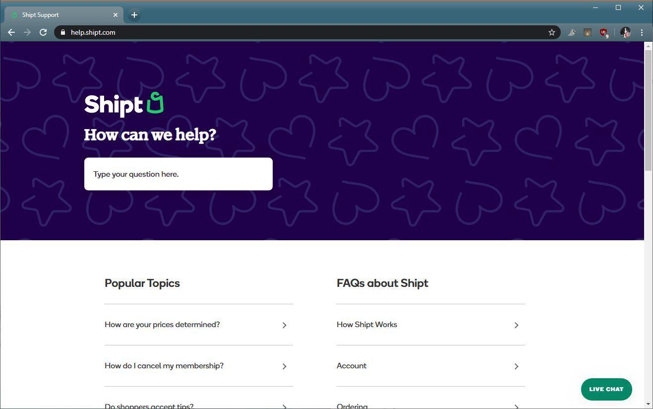 A screenshot of the Shipt help website.
