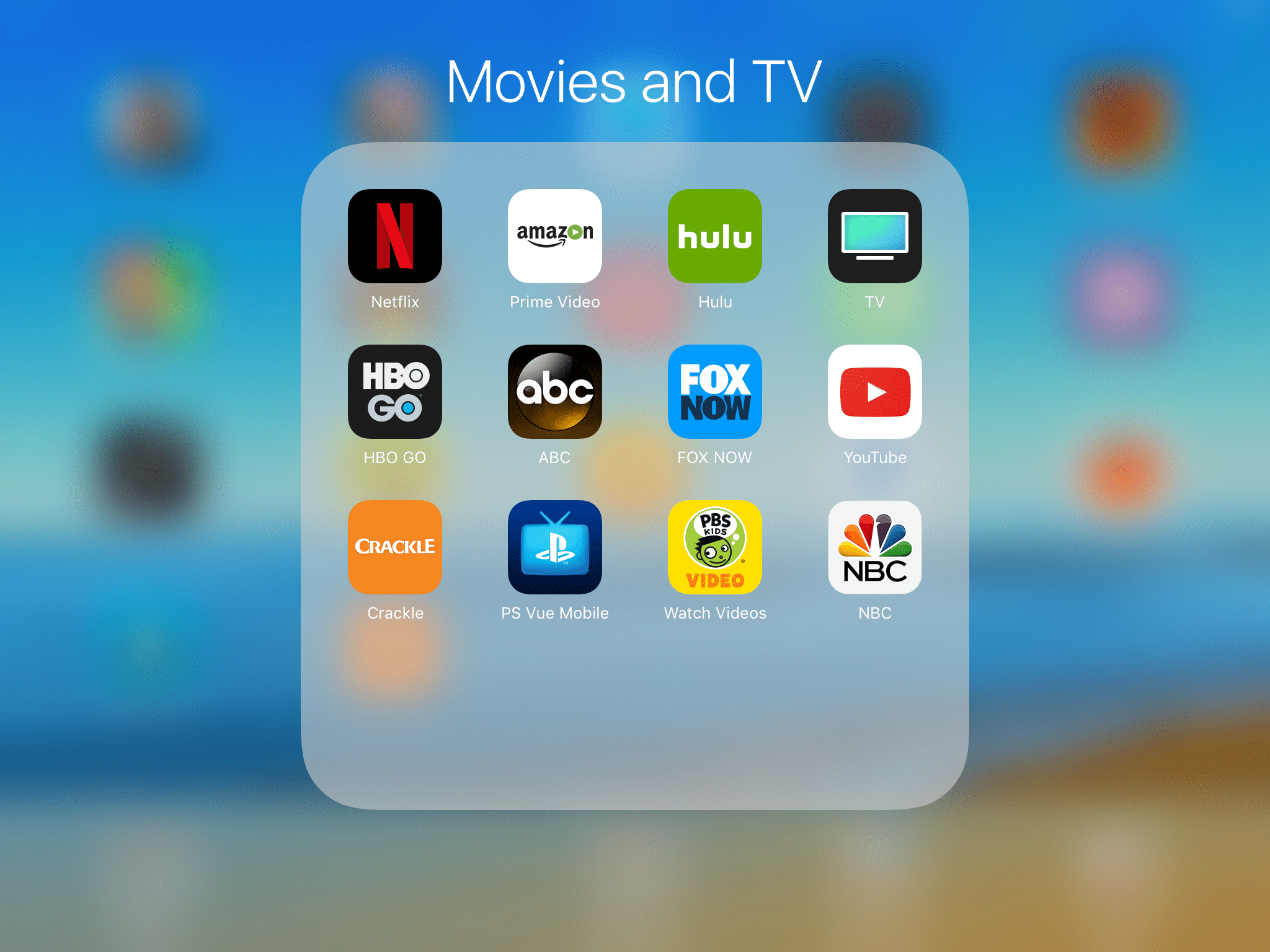 Entertainment apps on the Apple TV