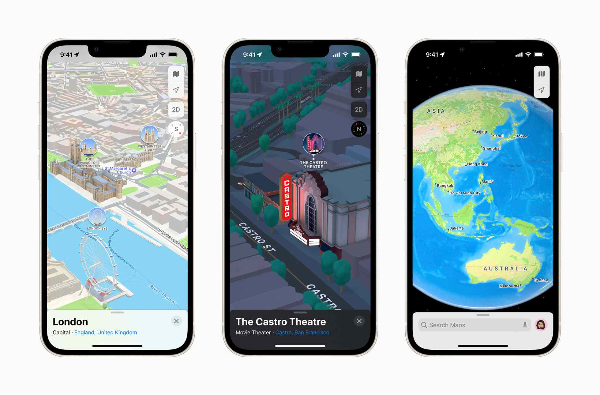 Three iPhones displaying the new Apple Maps.