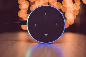 An Amazon Alexa device, activated for commands.
