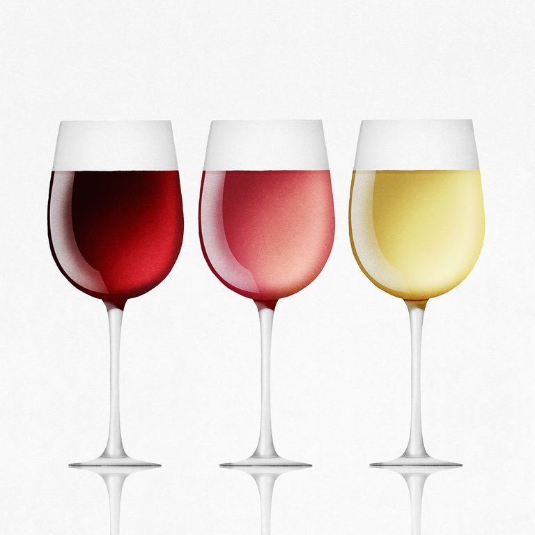 Red, white and rose wine in glasses