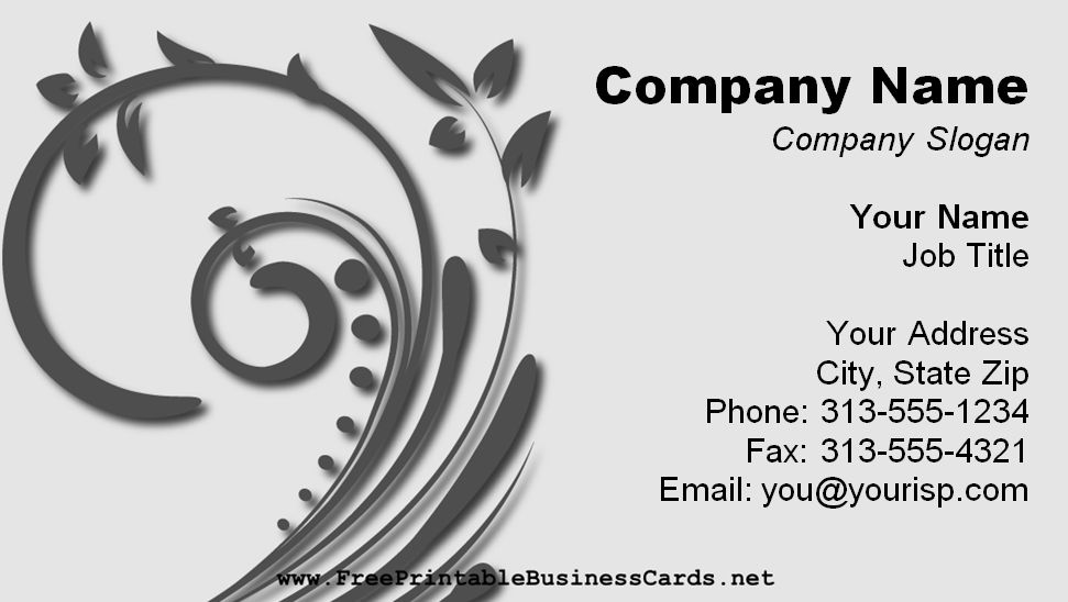 A Business Card Template With Gray Floral Swirl Free Printable Cards