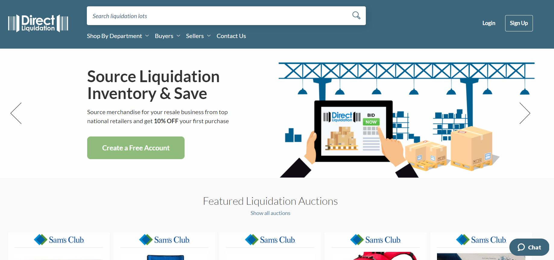 The Direct Liquidation home page.