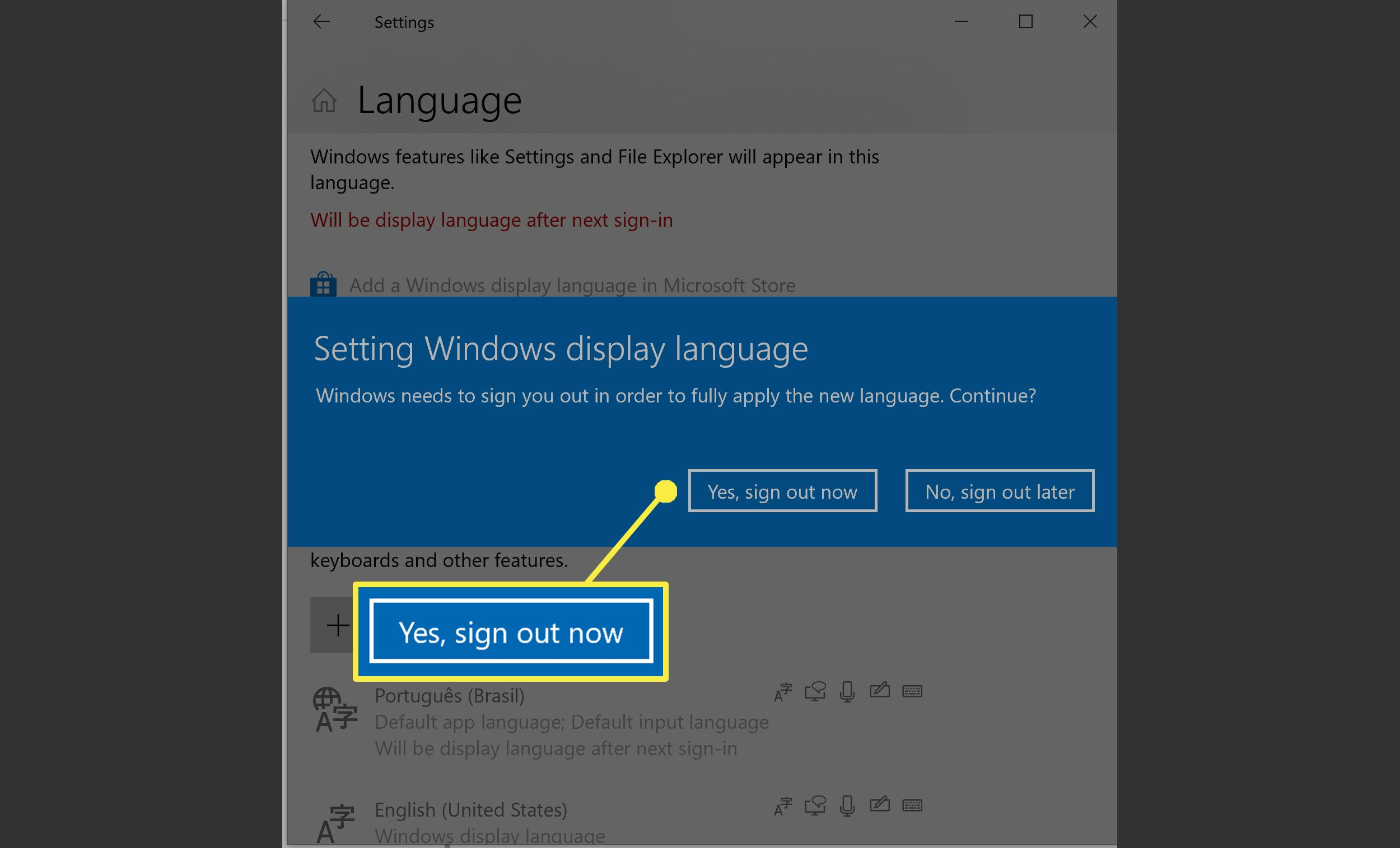 Installing a language in Windows 10.