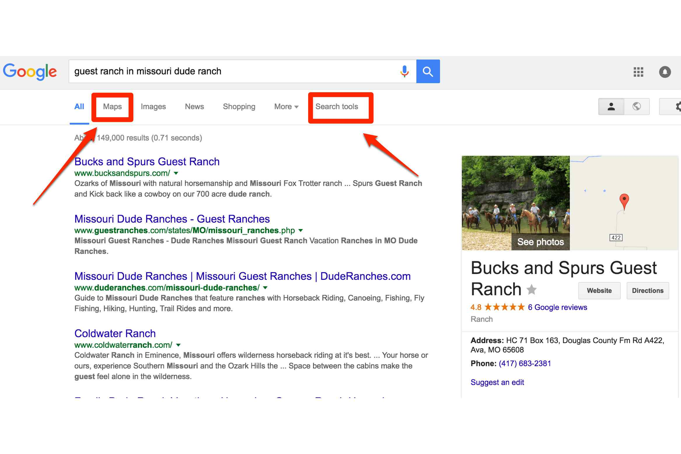 Alternate search for guest ranch in missouri dude ranch