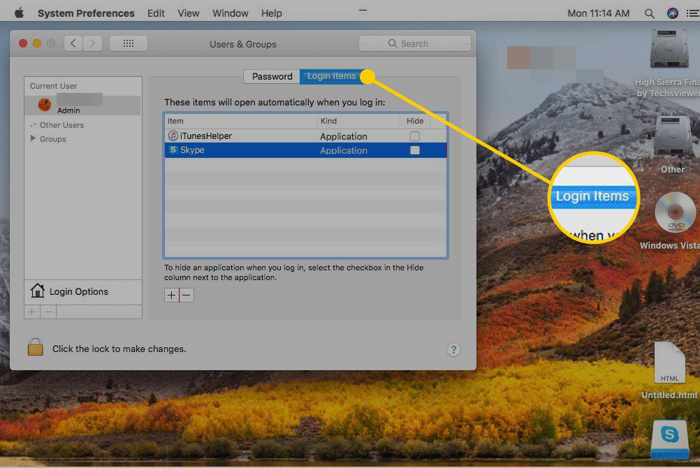 Users & Groups settings on a Mac with the Login Items heading highlighted